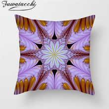 Fuwatacchi 3D Print 45X45 Square Cushion Cover Geometric Colorful Pattern Throw Pillow Cover Butterfly Kaleidoscope Pillowcase retro rainbow color geometric pattern square shape pillowcase without pillow inner