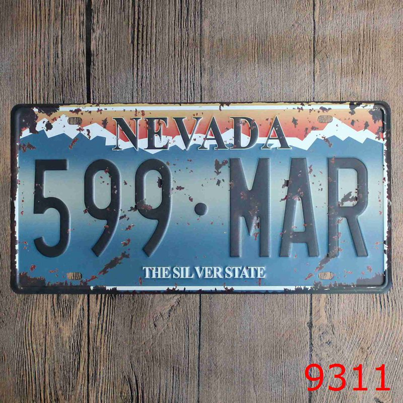 Direct selling LOSICOE Vintage license plate 599.MAR Wall art craft metal painting vintage Iron for bar home decor 15X30 CM