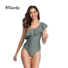 38bc128ea61 WTCandy Sexy One Shoulder One Piece Swimsuit Women Flouncy Swimwear Solid  Pink Green Black Bathing Suit