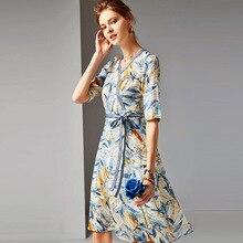 Silk Dress Summer Womens Fashion 2019 New V-Neck Half Sleeves 100% Natural Printed Slim Waistbow A-Line Casual S-XL