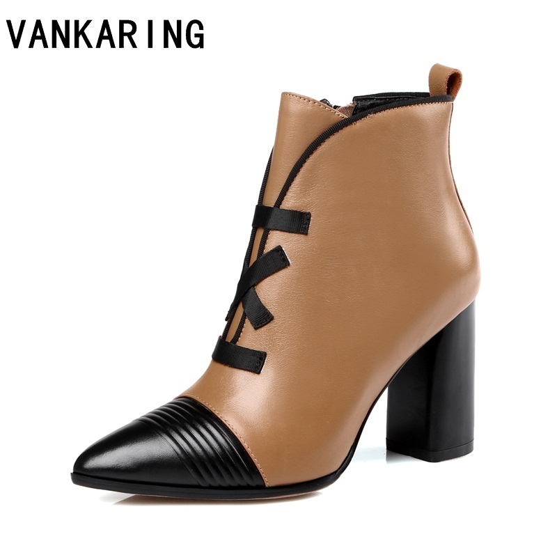 VANKARING genuine leather gladiator fashion women shoes high heels ankle boots pointed toe zip autumn shoes woman riding boots VANKARING genuine leather gladiator fashion women shoes high heels ankle boots pointed toe zip autumn shoes woman riding boots