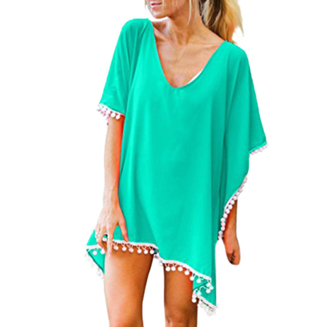 986711d7c7 Women's Pom Pom Trim Kaftan Chiffon Swimwear Beach Loose Bikini Cover Up  women's swimming suit summer beach wear Bathing Suit
