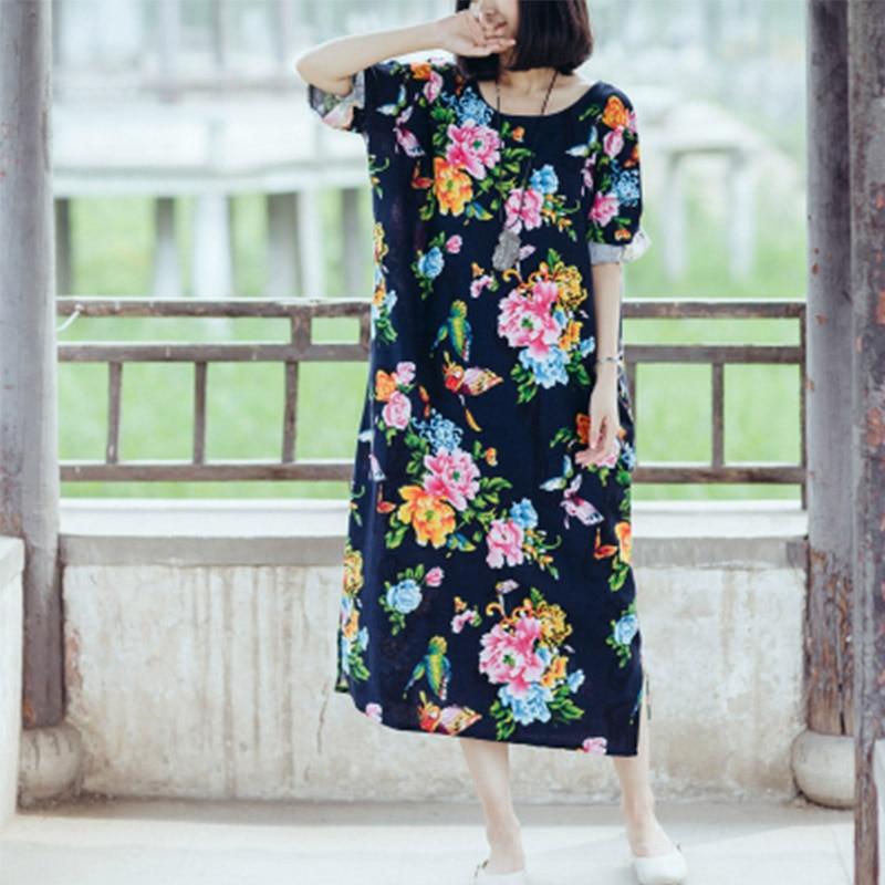 SCUWLINEN женское Летнее льняное платье в винтажном стиле с цветочным принтом и бабочками, свободное платье средней длины размера плюс, Повседневное платье S18