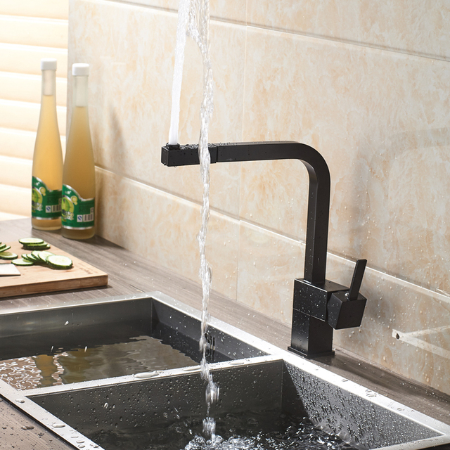 Black Pull Out Kitchen Sink Faucet Brass Square  Bathroom Kitchen Sink Mixers Hot and Cold Water Tap Deck Mounted 4 Colors