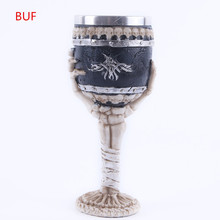3D Skull Mug Resin Skull Cup Stainless Steel Metal Wine Cup Goblet Cup 200ml hot sale creative home decoration 3d resin skull shape stainless steel wine goblet