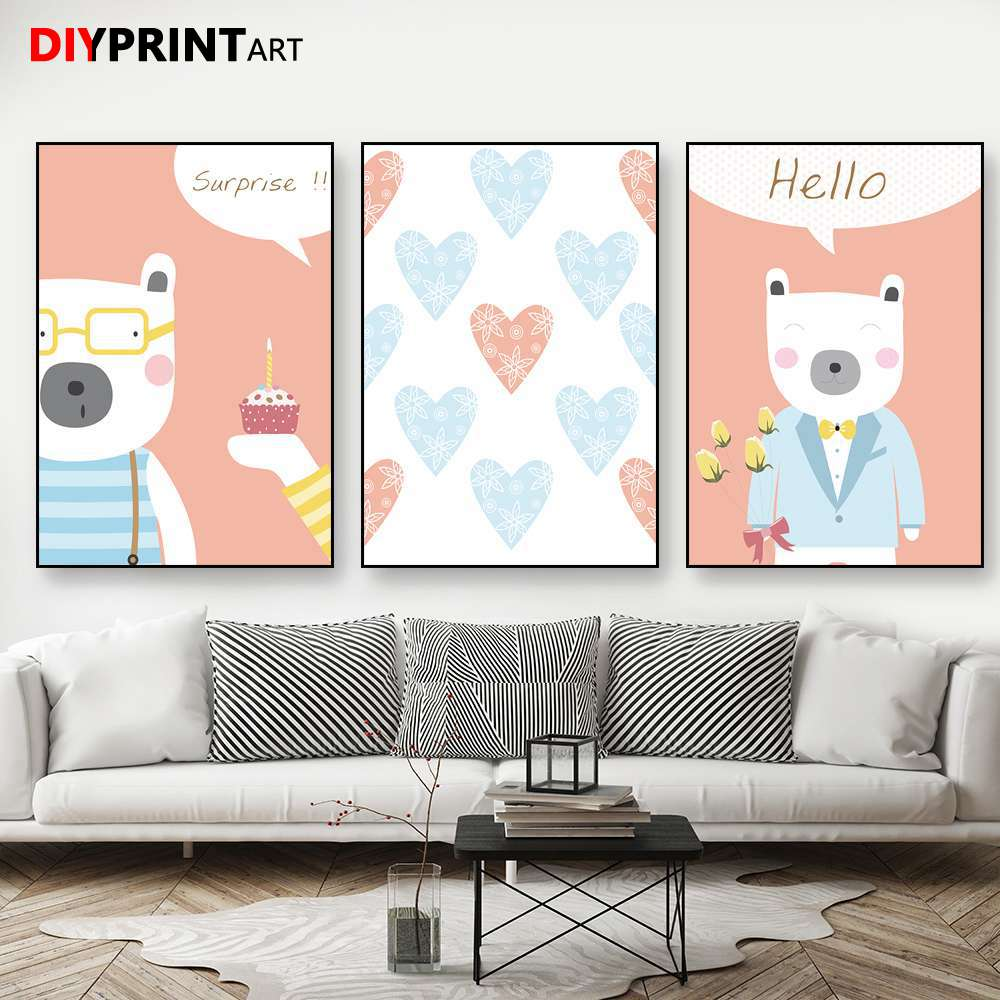 Us 7 83 Hello Surprise Love Baby Kids Room Canvas Wall Paintings For Bedroom Decoration B1095 In Painting Calligraphy From Home Garden On