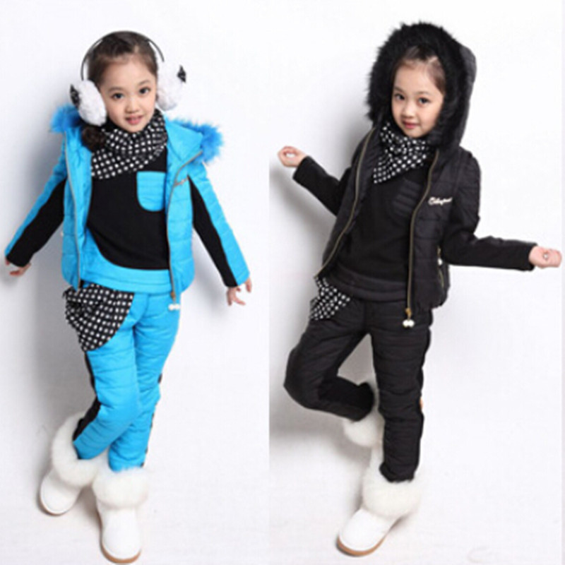 2014 Autumn And Winter Kids Fashion Polk Dot Scarf Turtleneck Clothes Set ,Sweatshirt+Vest+Pants 3pcs ,GirlsThickening Warm Suit