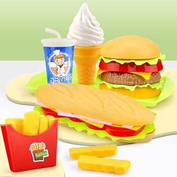 Children Simulation Food Hamburger Hotdog Kitchen Toy Set Pretend Play Miniature Snack Burger Educational Toys For Girl Kid 1