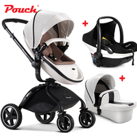 2018 Pouch baby stroller 3 in 1 baby stroller leather white red black orange color car seat baby sleeping basket baby car