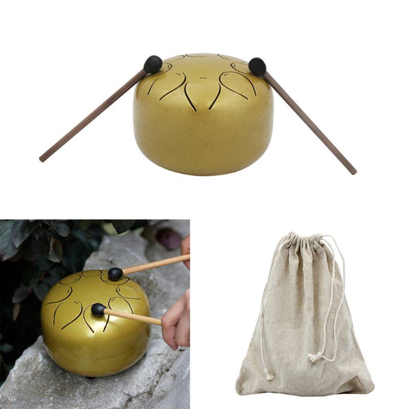 Mini tambour de langue en acier 4 pièces/ensemble avec sac maillet 5 pouces 8 tons pour méditation Yoga Zen