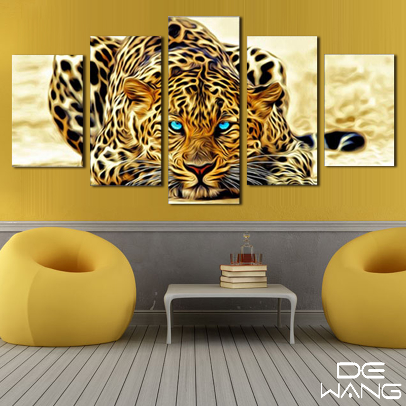 5 pcs canvas animal printing high quality hd cheap price great art african cheetah pictures modular - African Decor