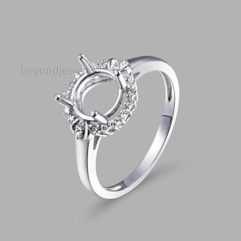Semi Mount Engagement Wedding Ring, 18k White Gold 750