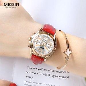 Image 4 - Megir 女性のカジュアルクォーツレッド腕時計クロノグラフレザーストラップビジネスの腕時計 relogios feminiinos 時計 2114