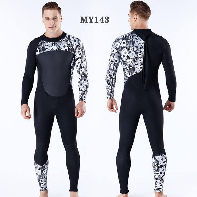 3mm Neoprene Male Female Printing Siamese Wetsuit Surf Scuba Diving Equipment Size S-XXL