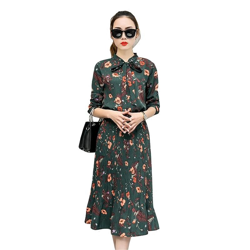 2019 Autumn Floral Chiffon Dress Women Long Sleeve Vestidos Mujer Elegant  Maxi Pleated Dress Ladies Long 2ee6068dc77d