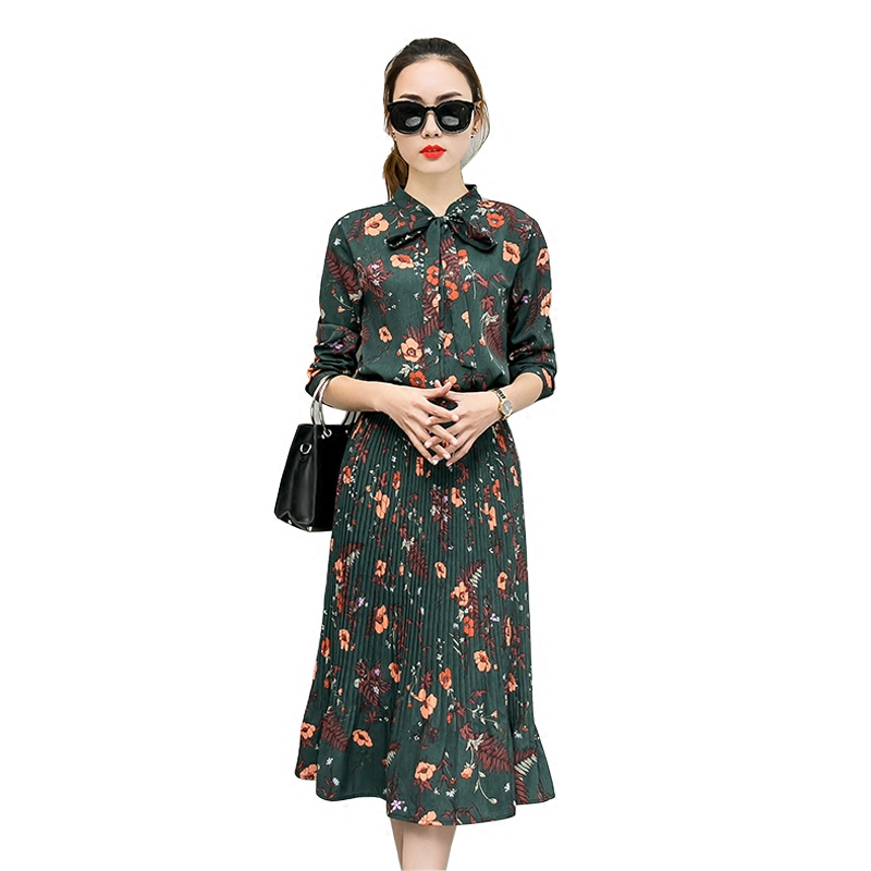 2017 Autumn Floral Chiffon Dress Women Long Sleeve Vestidos Mujer Elegant Maxi Pleated Dress Ladies Long Dresses Jurken C3527