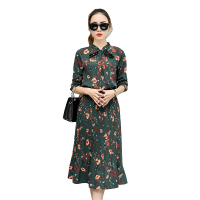 2017 Autumn Floral Chiffon Dress Women Long Sleeve Vestidos Mujer Elegant Maxi Pleated Dress Ladies Long