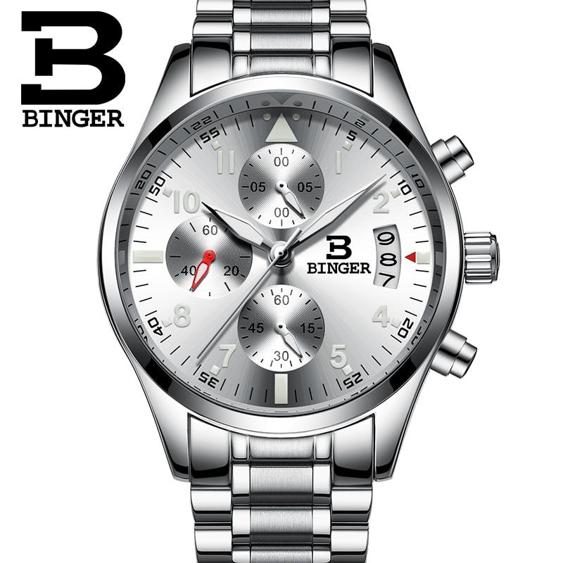 ФОТО BINGER Wrist Watch Men 2016 Top Brand Luxury Famous Male Clock Quartz Watch Silver Leather Wristwatch Relogio Masculino B9202M
