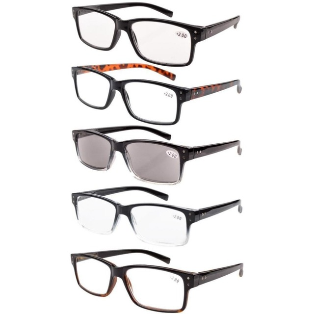 R032 Eyekepper 5-pack Spring Hinges Vintage Reading Glasses Men Includes Sun Readers +0.00---+4.00