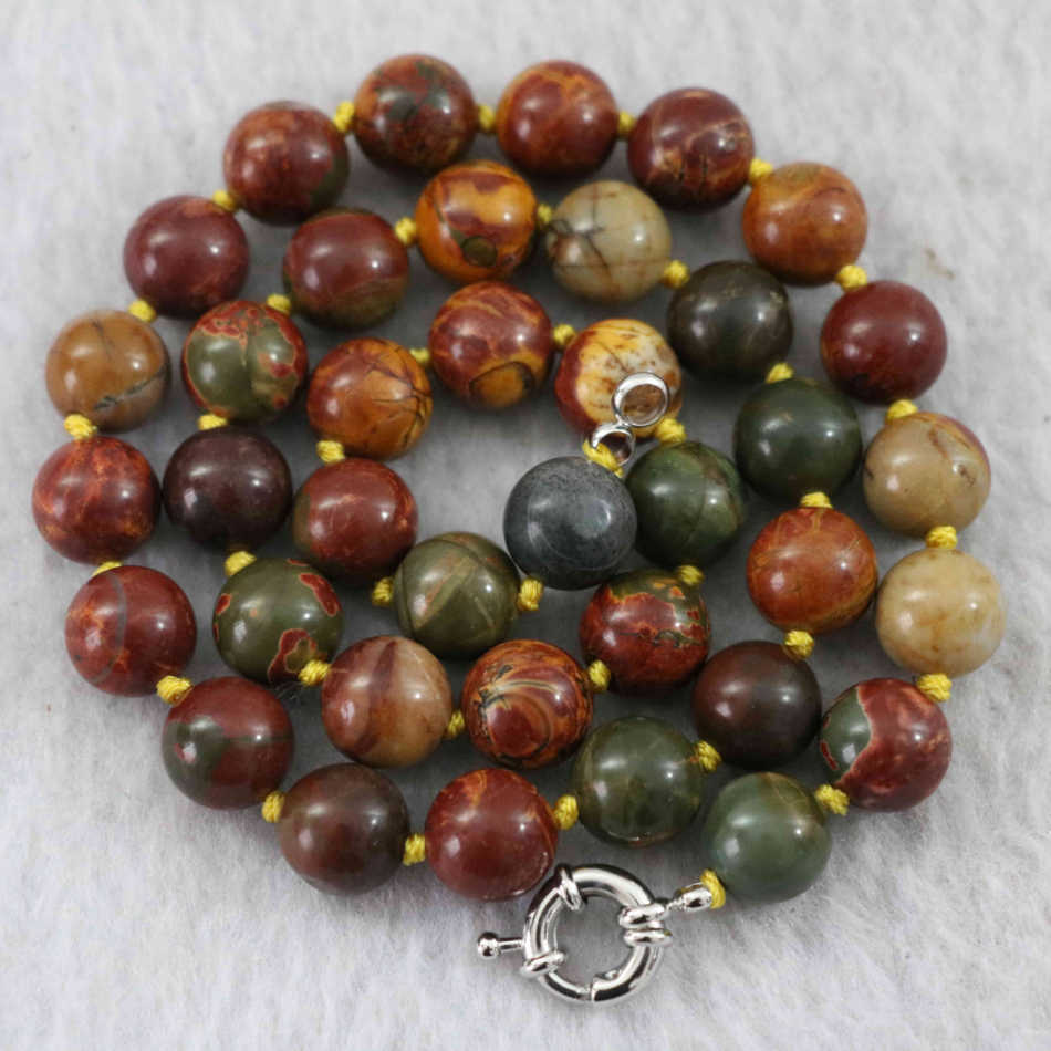 "Natural picasso stone 8mm 10mm 12mm round beads classcial diy jewelry necklace 18"" B1017"