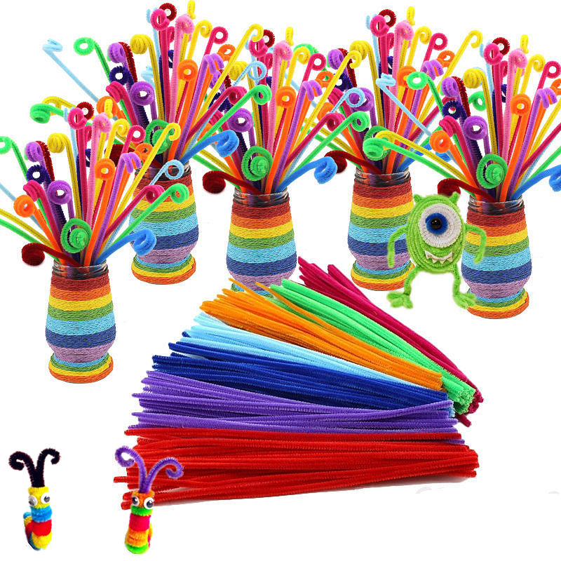105pcs / lot Bendaroos Montessori Materiale Matematică Șenilă tulpini Pălării Puzzle Craft Copii Pipe Cleaner Educational Toy Creative