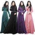 Abaya Vestido feminino Longo-manga de Lótus Balanço Malay Turco Abayas Muçulmano Vestuário 2016 Apliques de Vestuário Ropa Mujer Real Venda