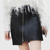 Kobiety babie lato czarny prawdziwej skóry owczej skóry jagnięce-Line mini spódnica z przodu pochyłe zipper saia etek faldas jupiter LT1589