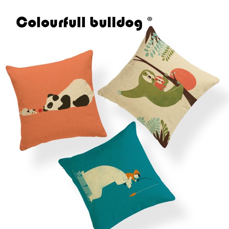 Elephant Panda Eagle Cushion Koala Giraffe Pillow Cases Wolf Whale Home Dinosaur Penguin Throw Pillows Fox Flower 18X18 Burlap