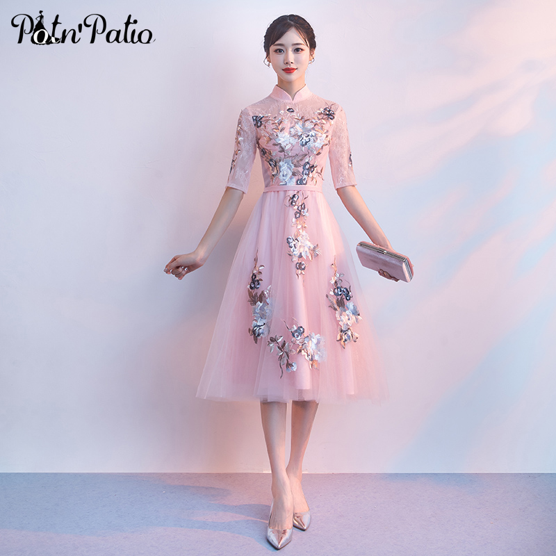 Elegant Vintage High-neckline Long Evening   Dresses   Pink 2019 Plus Size Luxury Appliques Flower   Prom     Dresses   With Sleeves