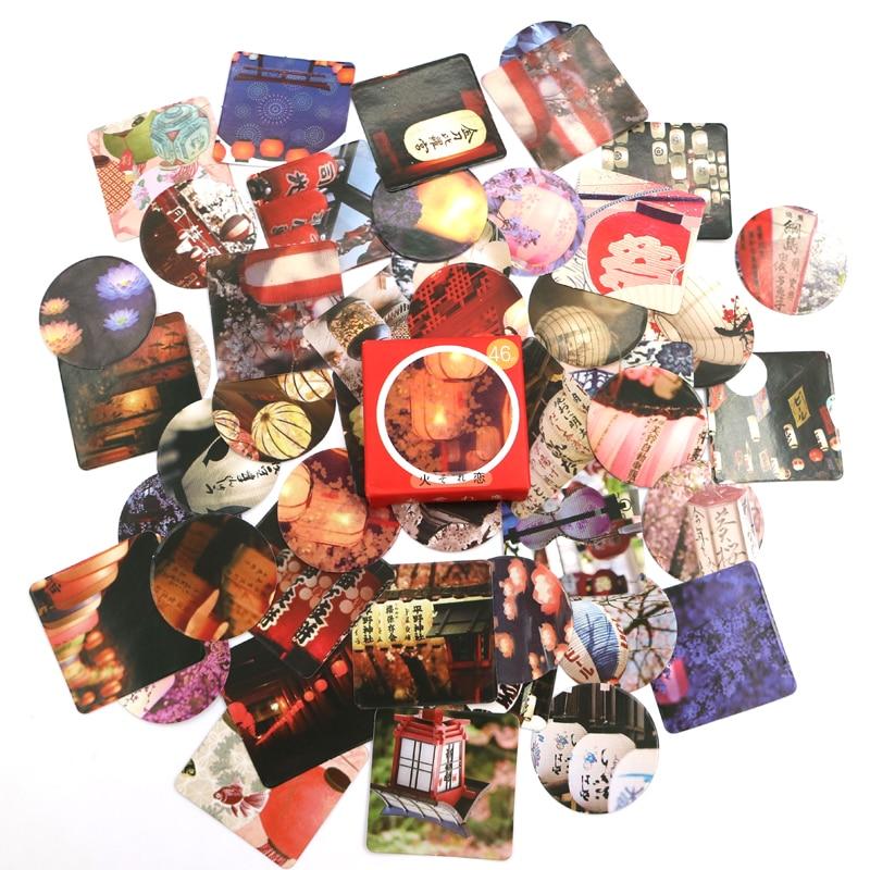 Купить с кэшбэком Creative Lantern Paper Decorative Stickers Adhesive Stickers DIY Decoration Scrapbooking Stickers Gift Stationery 46 PCS/box