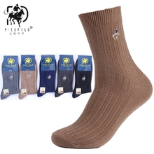 Высокое качество Фирменная Новинка, партия из 5 пар большой Размеры нескользящих носочков классический Бизнес вышивка носки из мериносовой шерсти теплые осень-зима Для мужчин носки