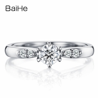BAIHE Solid 10K White Gold(AU417) Certified 0.25ct Round Trendy 100% Moissanite Engagement Wedding Women Fine Jewelry Gift Ring