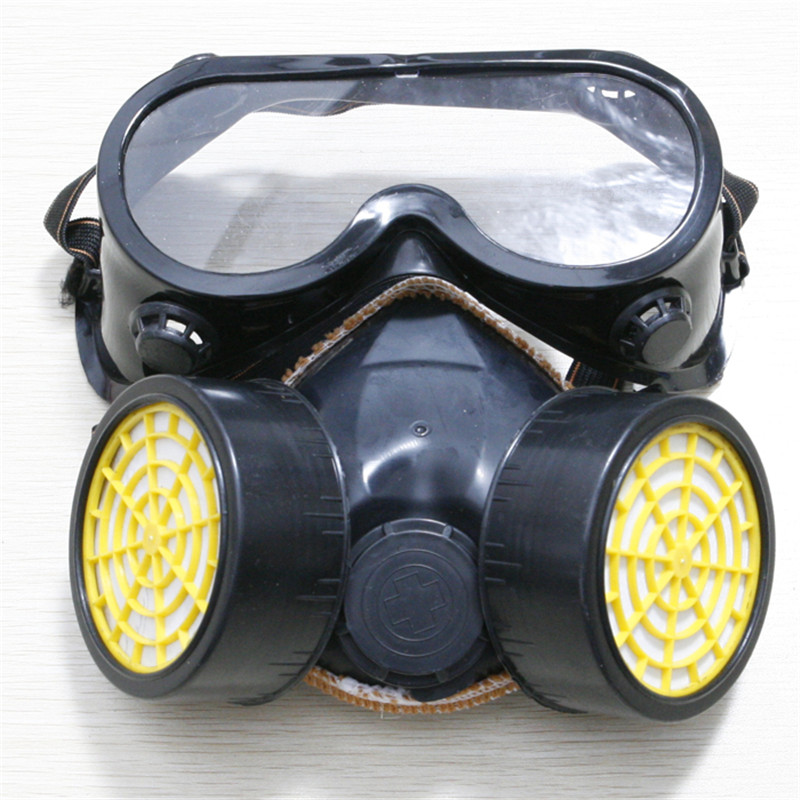 1 Set Professional PVC & Active Carbon Antivirus Mask With Protective Goggles For Laboratory Chemical Industry Use