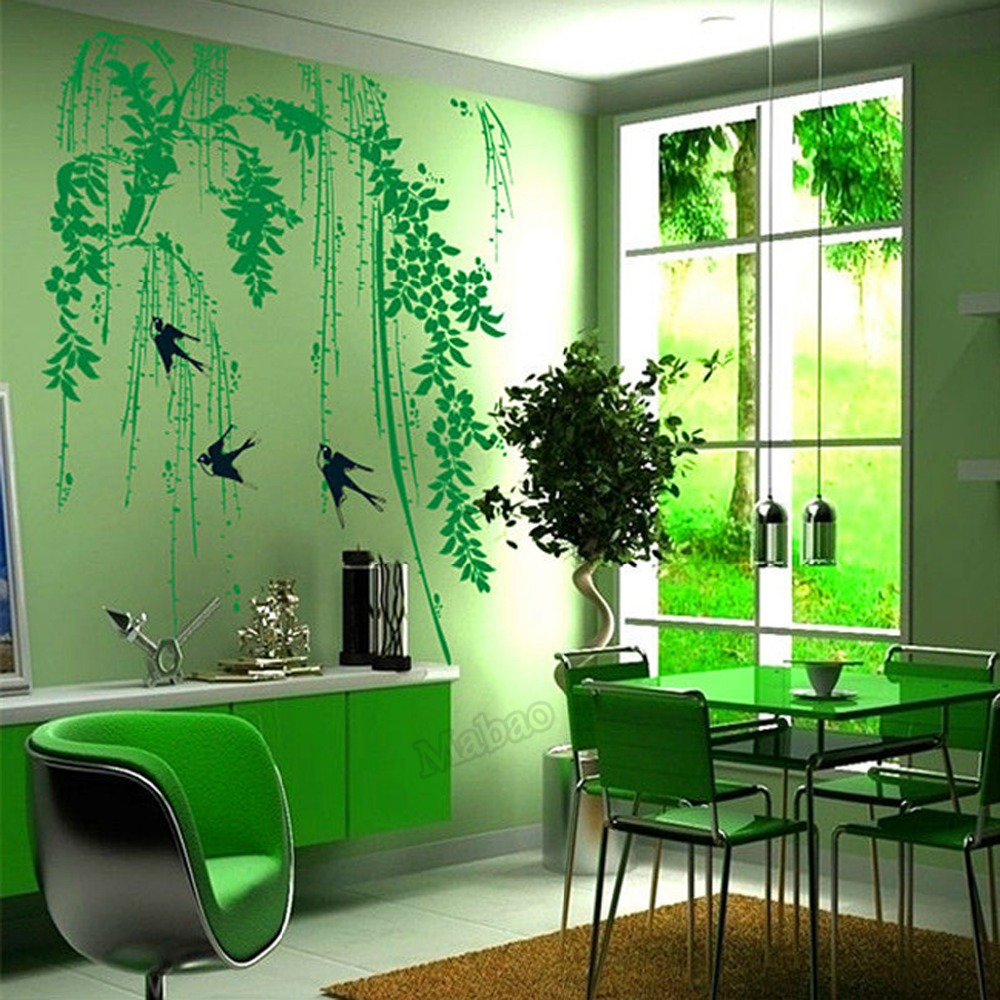 Mabao Summer Style Wall Sticker Curtains Living Room Decoration Furious Spring Wallpaper Decal