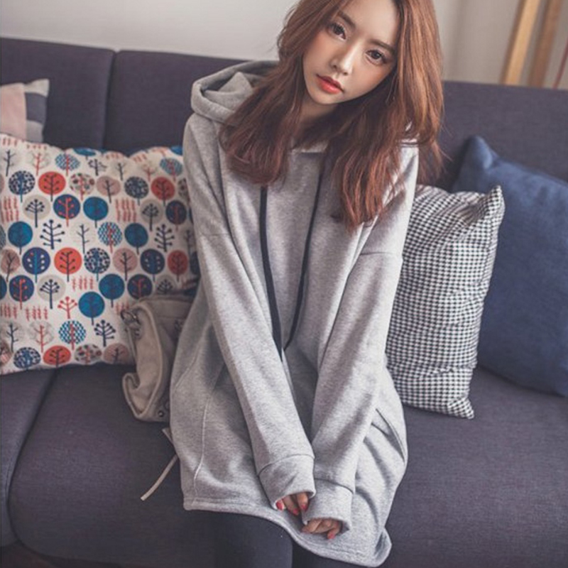 Women Oversize Solid Grey Full Sleeve Long Pullovers Hoodies 2018 Lady Hooded Sweatshirt Femme Mujer Fashion Low Price