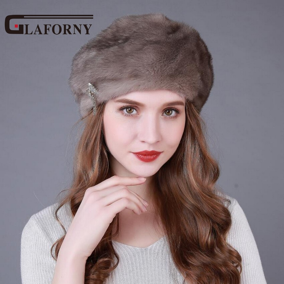 Glaforny 2018 New Arrival Genuine Mink Fur Hats Whole Mink Fur Berets Women Luxury Fur Caps Good Quality for Russian стоимость