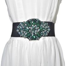 New Fashion Vintage Colorful Women Belt With diamonds Wide Elastic European style Dresses Belts C78