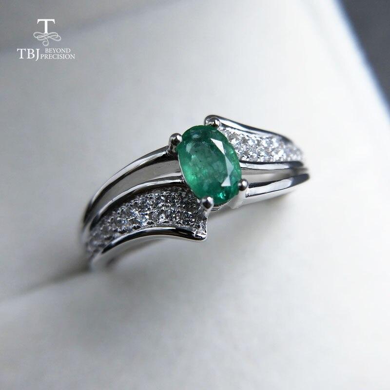 TBJ,, elegante en klassieke ring met 100% natuurlijke emerald ring in 925 sterling zilver voor vrouwen & lady als anniversary gift met doos-in Ringen van Sieraden & accessoires op  Groep 3