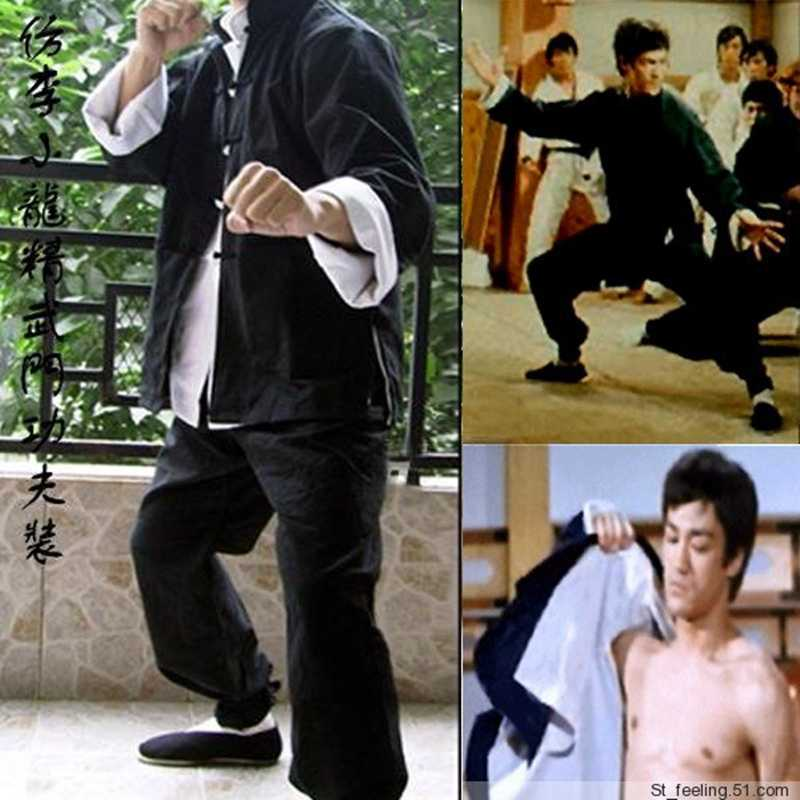 クラシックブルース·リー詠春ジークンドー太極拳武道服カンフー制服中国伝統唐ジャケット+パンツ