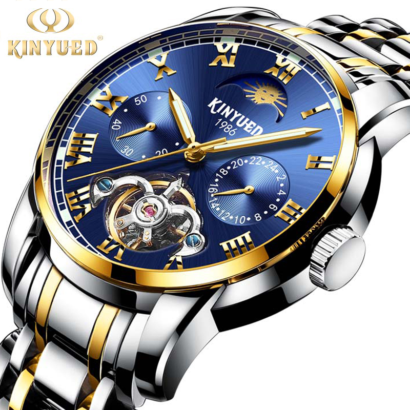 KINYUED Men Automatic Mechanical Watch Tourbillon Luxury Brand Men Fashion Steel Man Multifunctional Watches relogio masculino цена