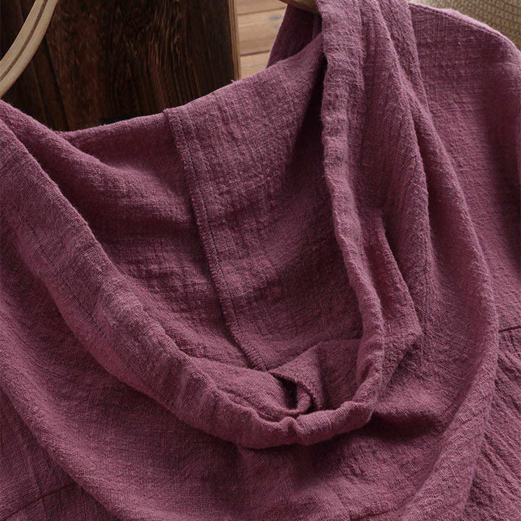 MUQGEW Плюс Размер Женская хлопковая льняная блузка однотонная v-образный вырез длинный рукав пуговицы Карманы Осень Feminina Blusas летняя Свободная рубашка