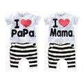 2017 Venta Caliente Del Verano Niños Que Arropan al Bebé I love Mama Papa se adapta a la camiseta + Pantalón de Rayas de los Trajes Del Niño Niña Ropa de Los Cabritos Sets