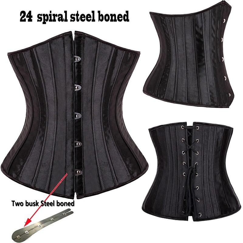 24 Steel Boned Waist Trainer Underbust   Corsets     Bustiers   Steampunk Gothic Corselet Waist Cincher Slimming Plus Size S-6XL
