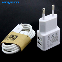 US EU 5V 2A 2USB Wall Travel Charger Micro USB Data Sync Charging Cable For