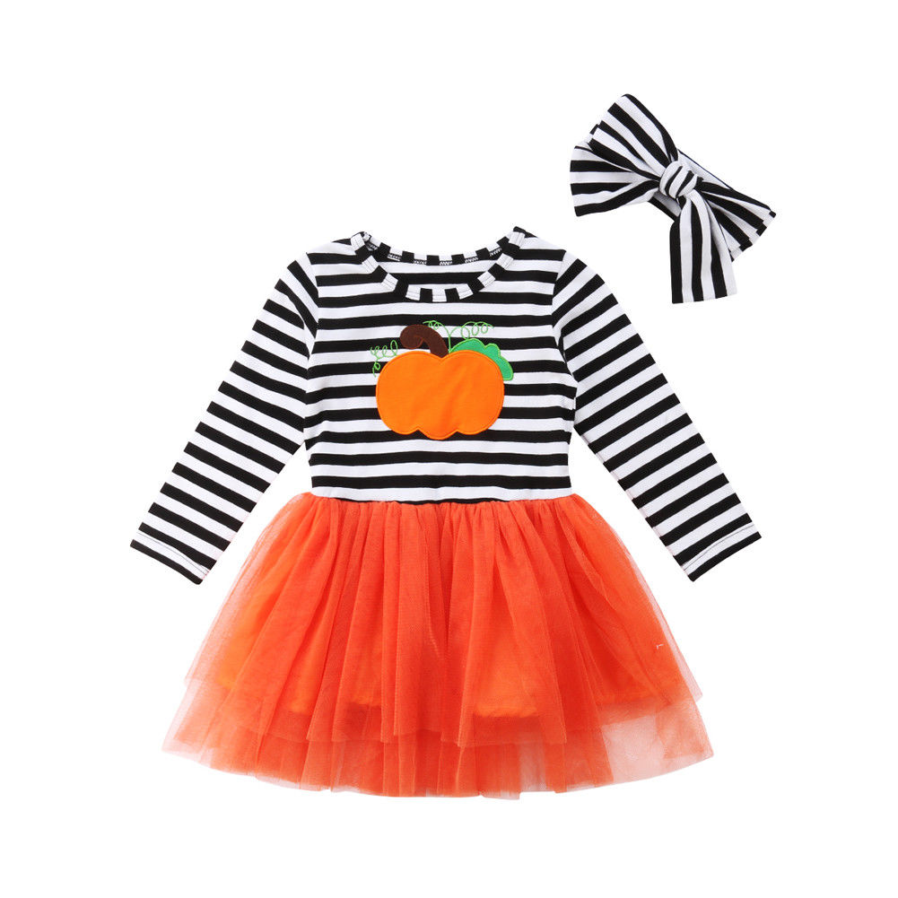 Winte Kids Baby Girls Dress Halloween Pumpkin Dresses For Girls Long Sleeve Striped Tulle Party Wedding Princess Child Costumes image