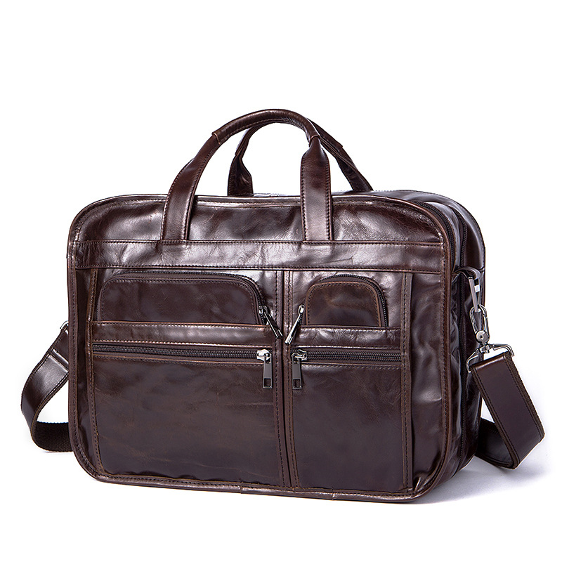 Uniego Fashion Genuine Leather Business Men Briefcase Handbag High Quality Male Shoulder Bag Men Crossbody Messenger Bags HB132