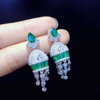 DIY earring jackets 925 sterling silver with cubic zircon green and white color mixed fine women jewelry free shipping
