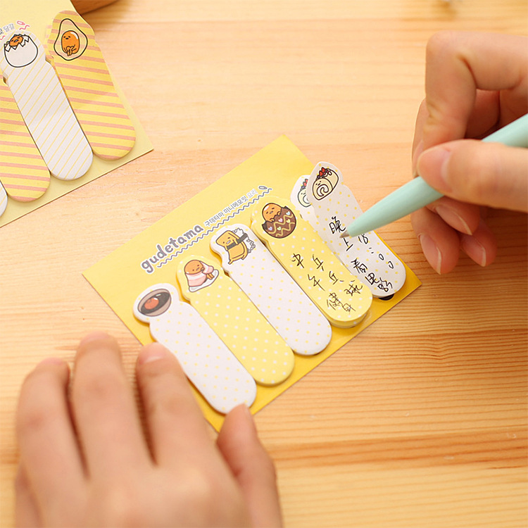 2Pack/Lot Lovely Cute Yellow Lazy Egg Mini Memo Pad N Times Sticky Notes School Supply Bookmark Post it Label E0399