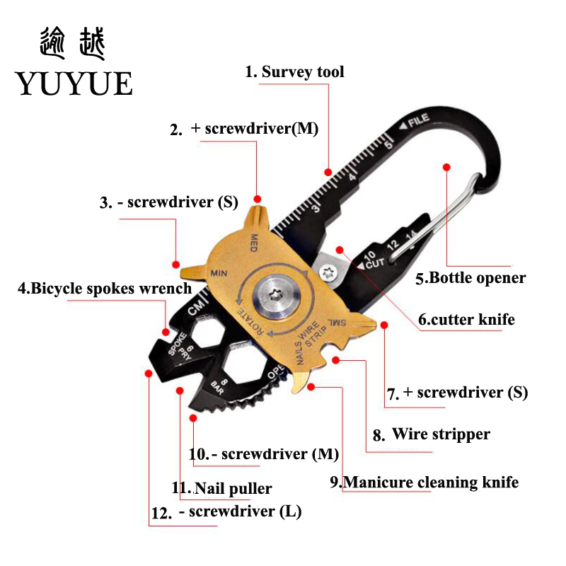 2018 Hot EDC Pocket Multi Tools For Outdoor Camping Equipment Tourism Survival Knife Tool Outdoor Survival Screwdriver Cutter  2