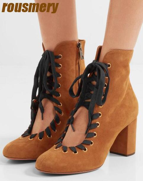 Spring Fashion Brown Suede Leather Women Round Toe Ankle Boots Mixed Color Shoelace Ladies Chunky Heel Lace Up Boots Knight Boot new arrival women genuine leather flat ankle boots fashion round toe lace up ankle boots for women ladies casual cow suede boots